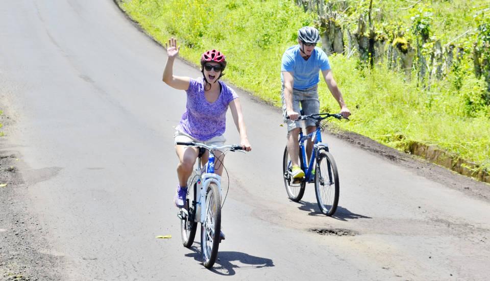 Couple biking on Santa Cruz Island