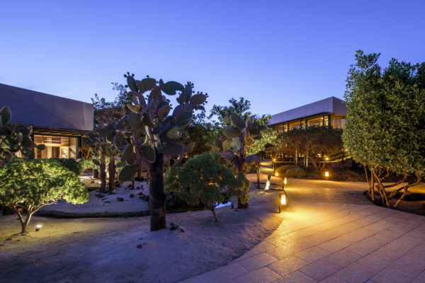 View of Finch Bay Galapagos Hotel at night