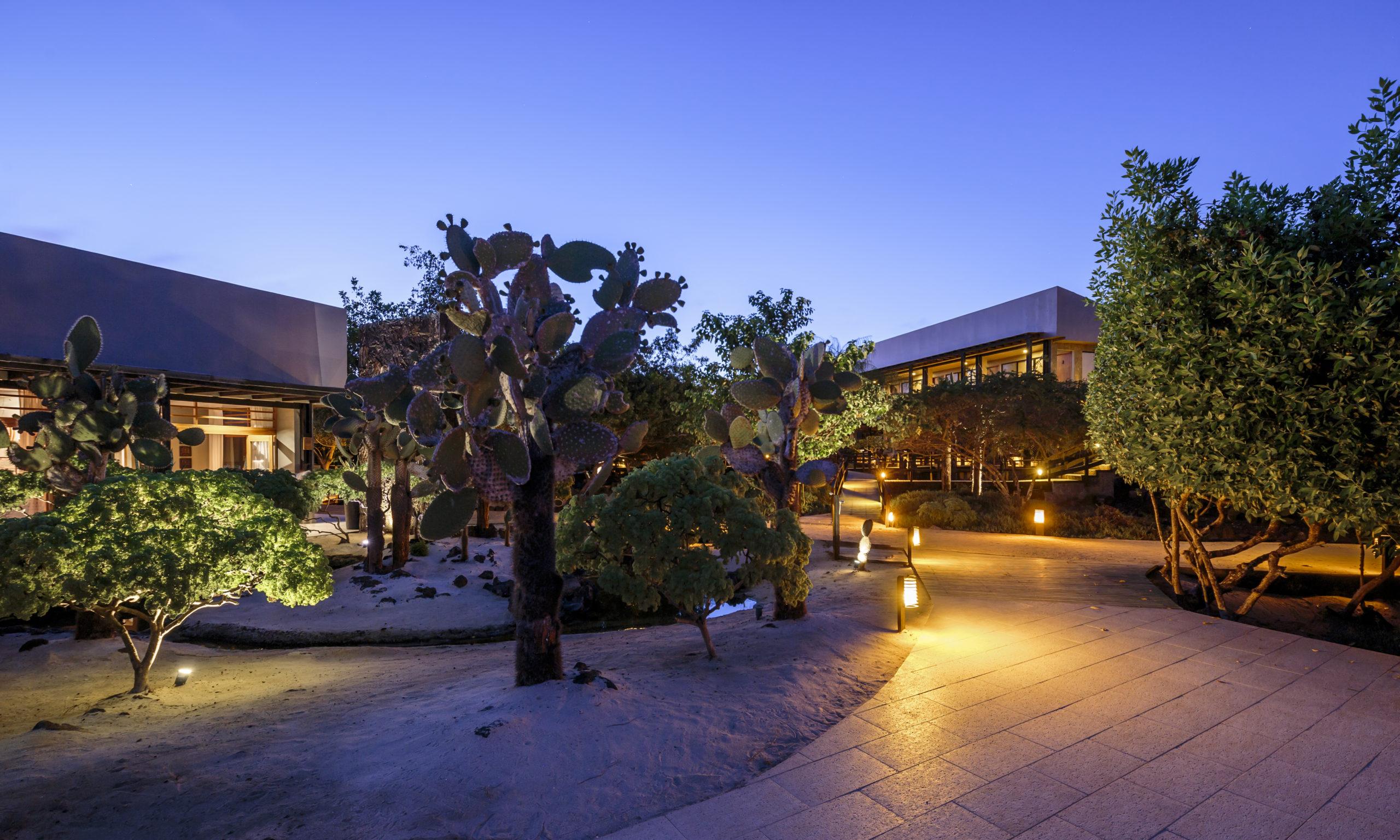 View of Finch Bay Galapagos Hotel at night