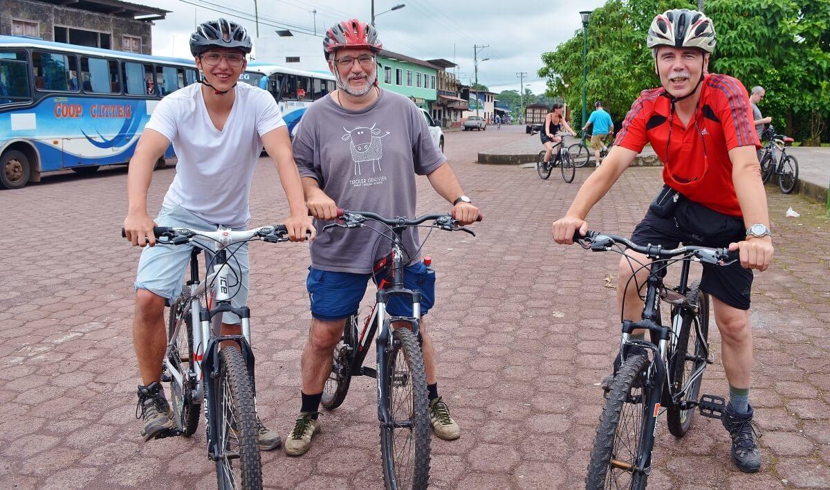 Finch Bay's guests biking at Puerto Ayora on Santa Cruz Island.