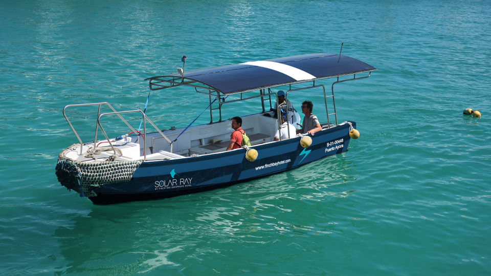 sustainable service galapagos solar transfer boat