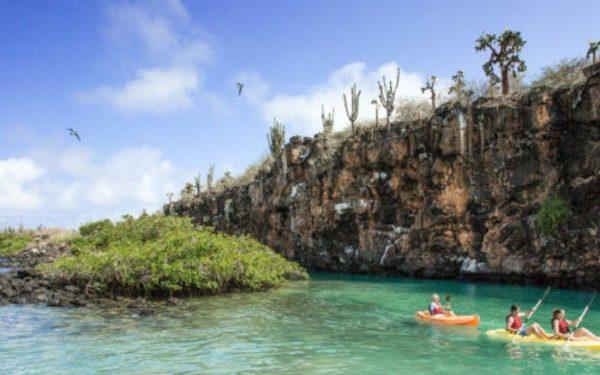 Kayaking at Divine Bay in Galapagos.