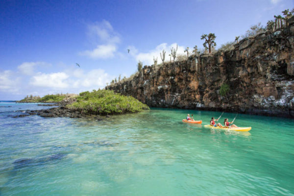 Kayaking at Divine Bay in Galapagos.