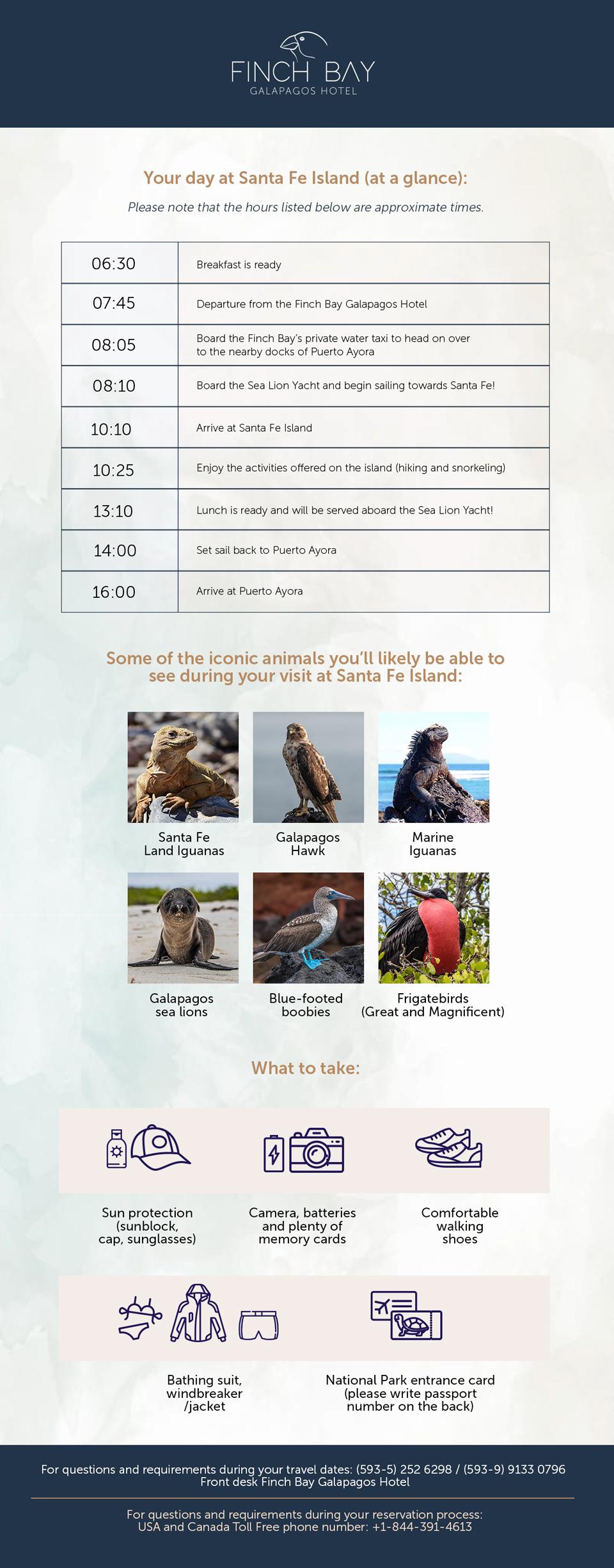 Sea Lion Yacht's Itinerary: Santa Fe Island