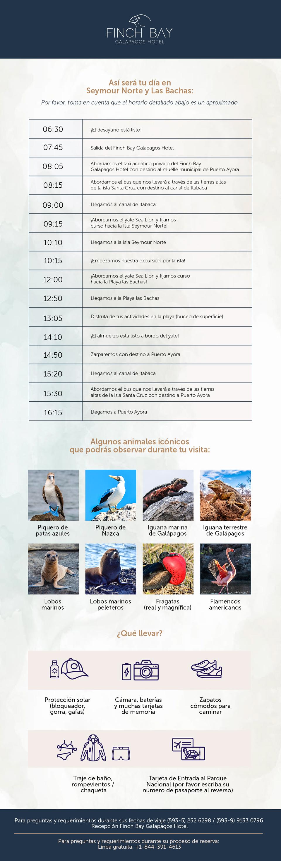 Itinerario del Yate Sea Lion: Isla Seymour Norte y Playa Las Bachas