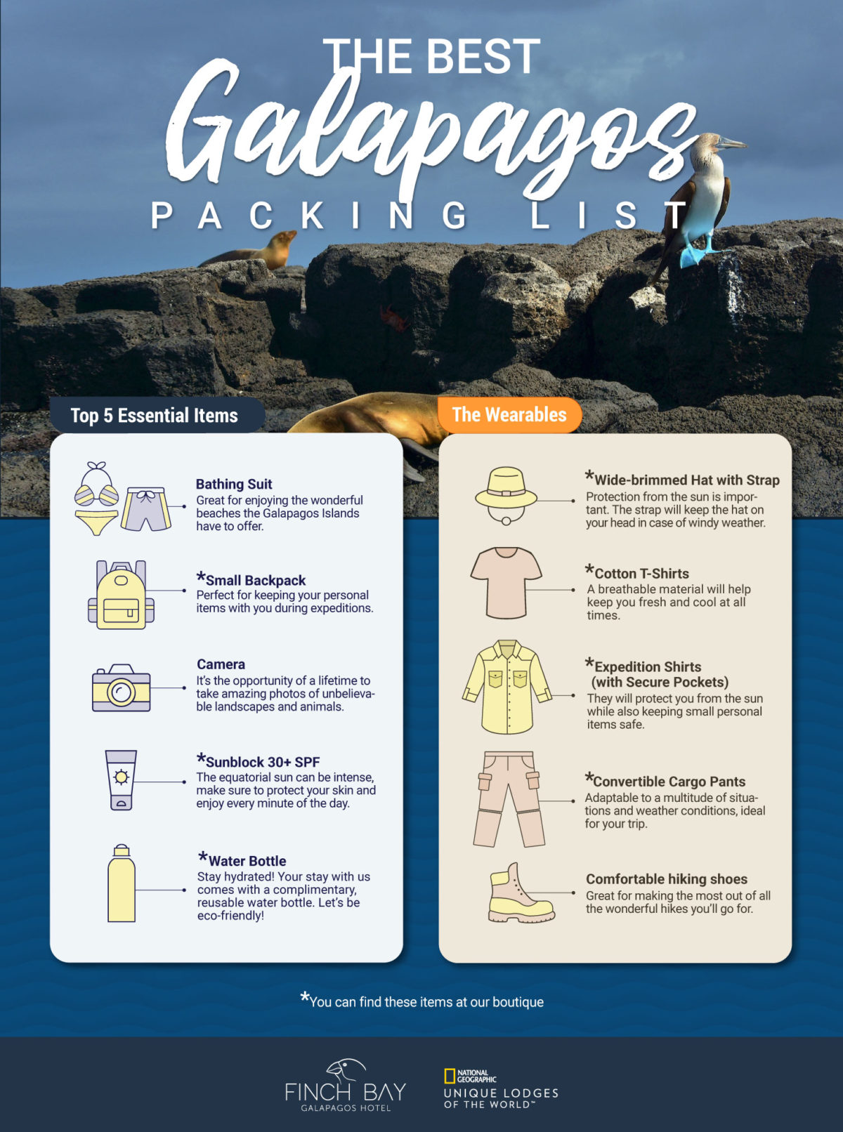 Finch Bay Hotel packing list for the Galapagos Islands
