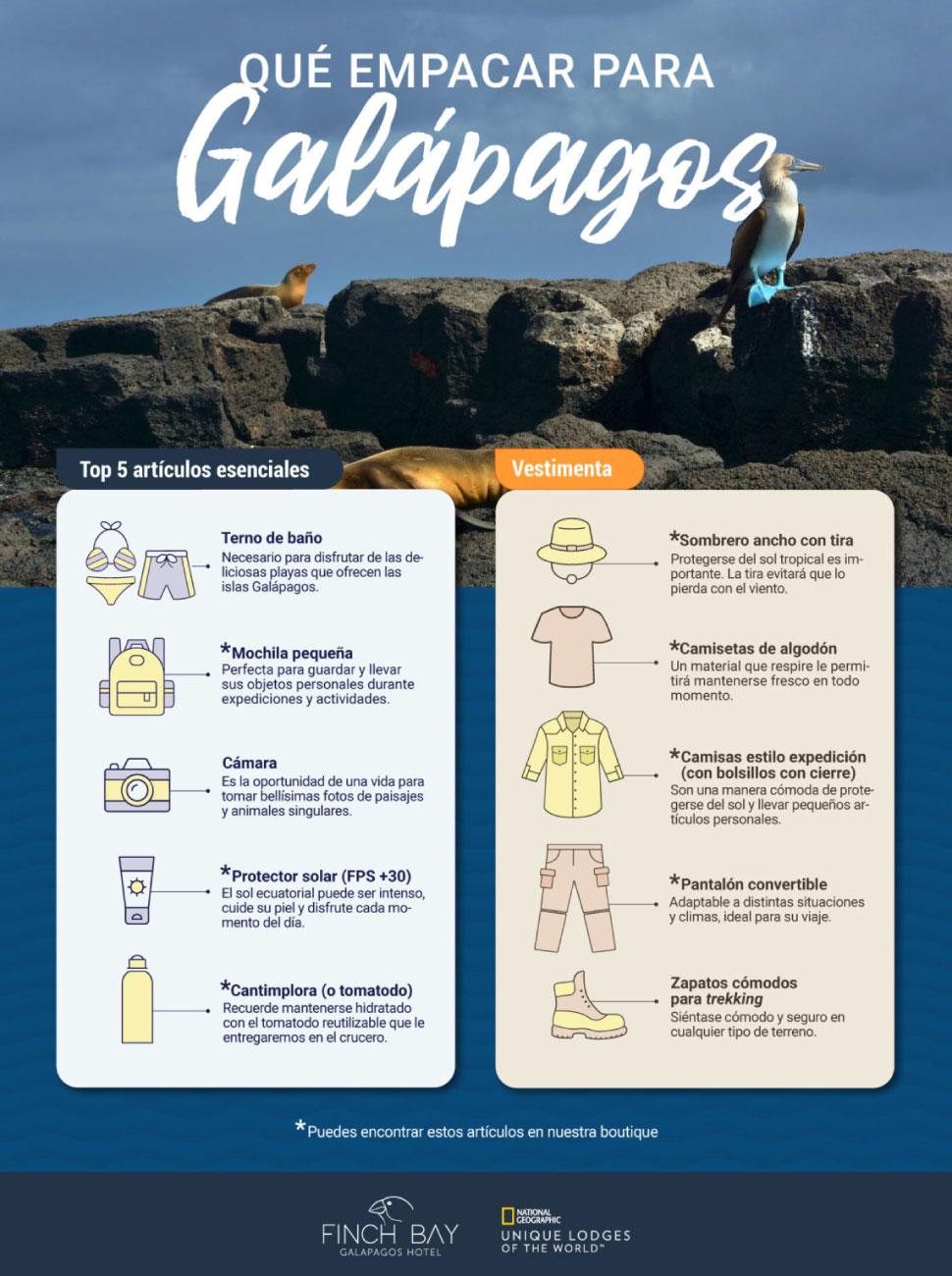 Lista de equipaje para las Islas Galápagos