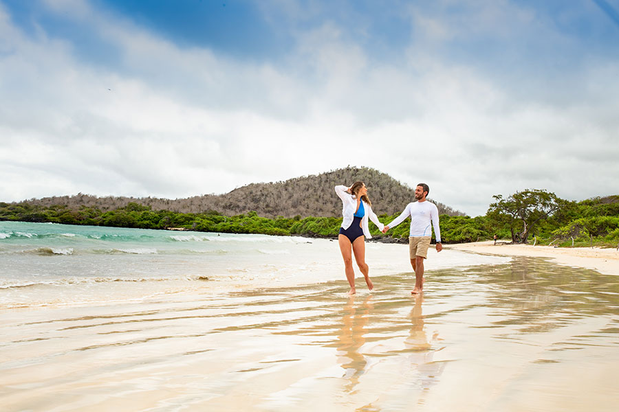 Romantic strolls in secluded beaches are a must if you visit the Galapagos Islands with your partner!